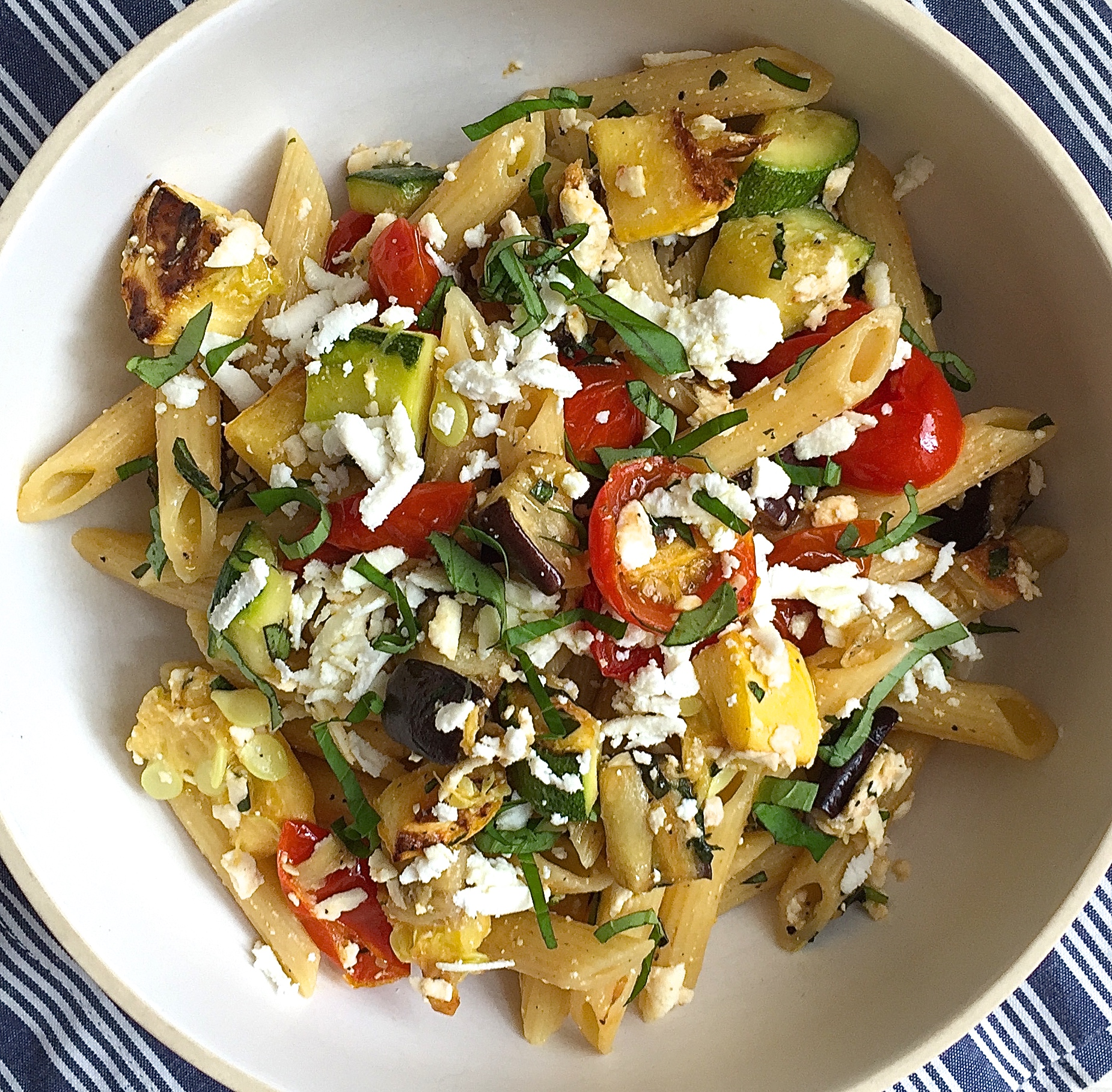 Penne with Roasted Summer Vegetables and Ricotta Salata Recipe - How ...