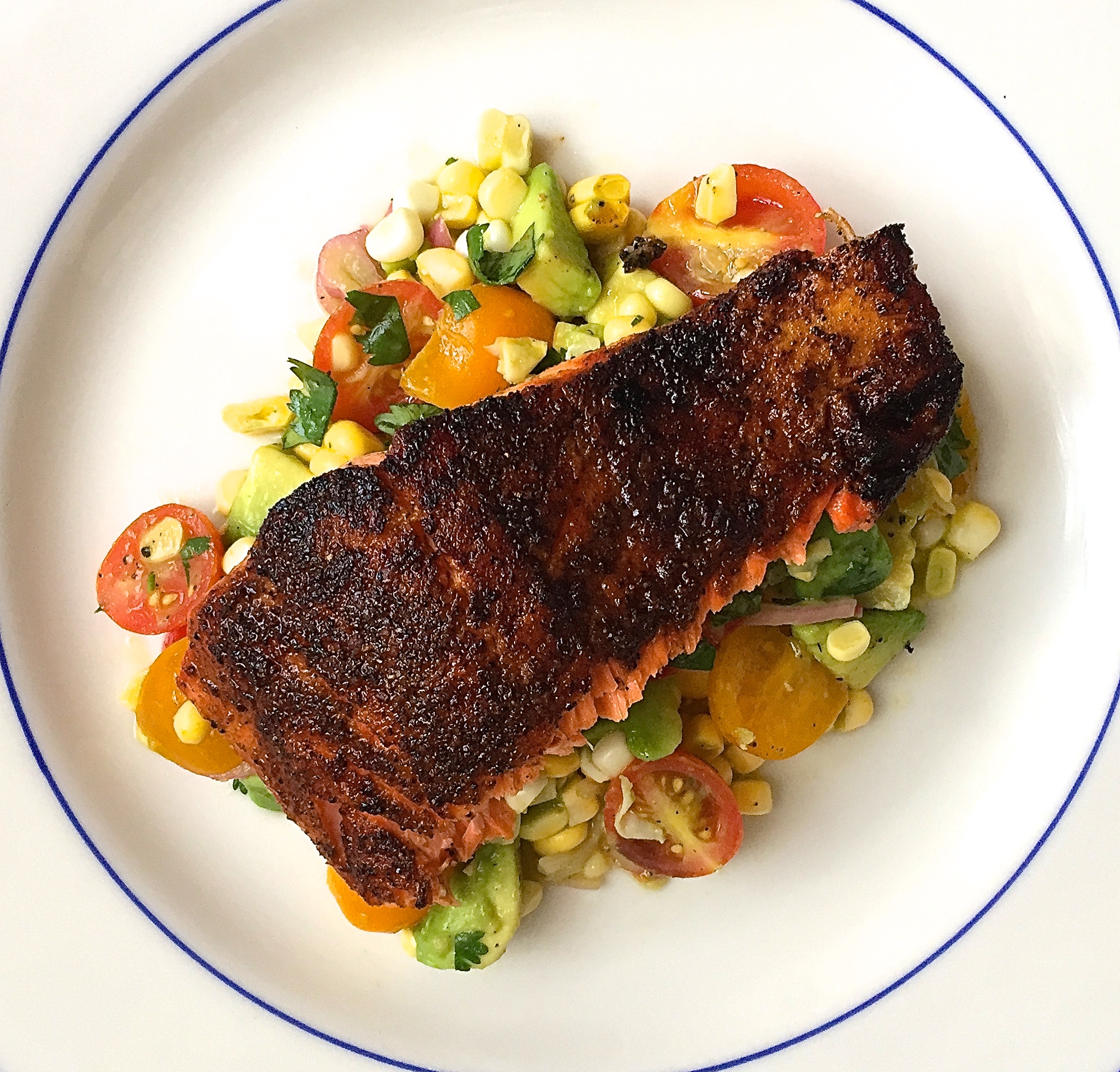 Blackened salmon with corn tomato and avocado salad for How to make blackened fish