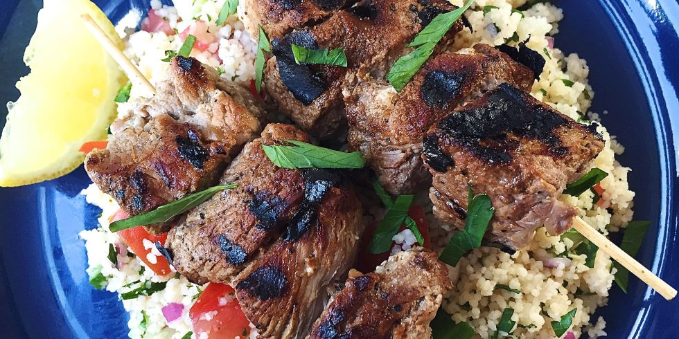 Grilled Lamb Skewers with Couscous Tabbouleh