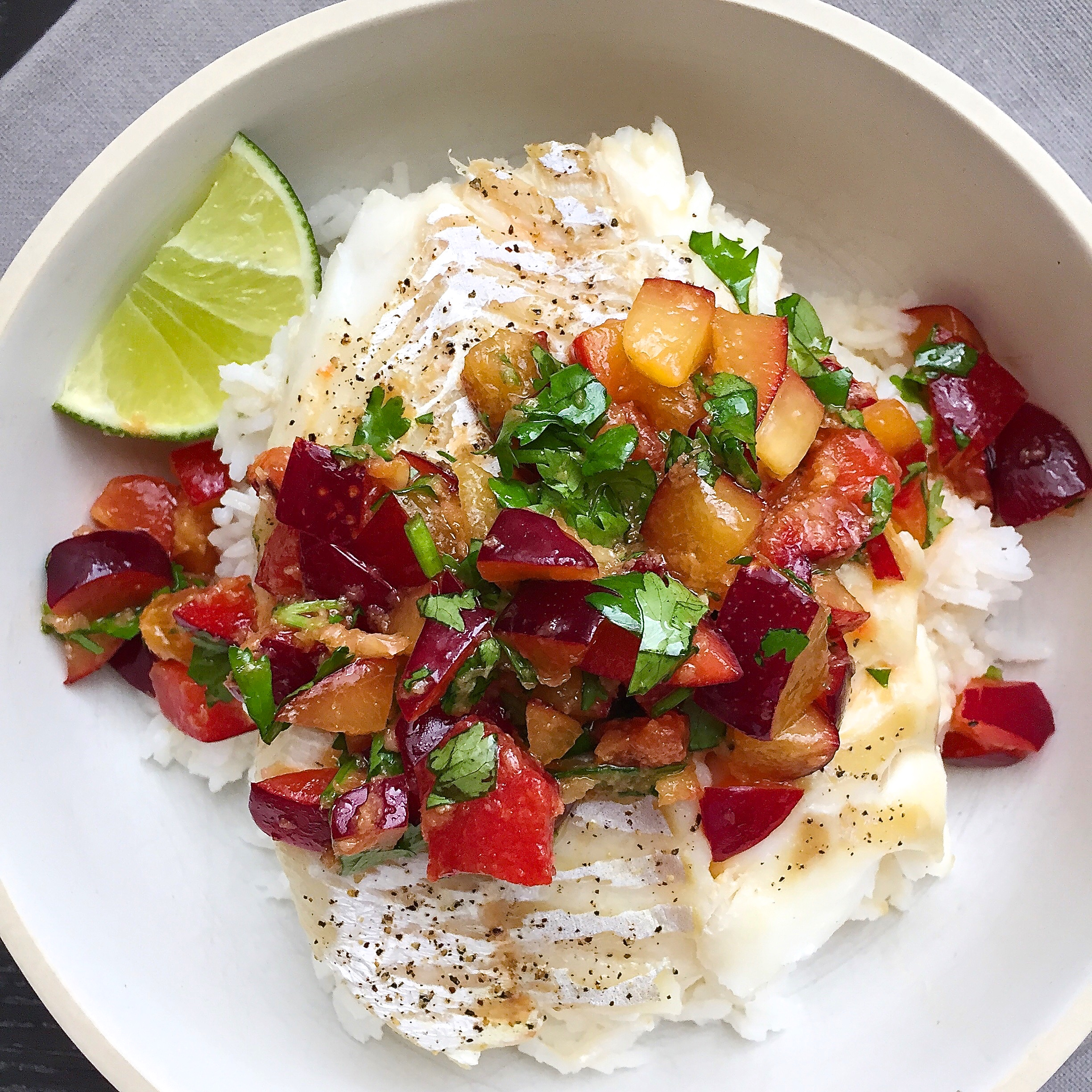 Roasted cod with soy ginger plum salsa and jasmine rice for Rice recipes for fish