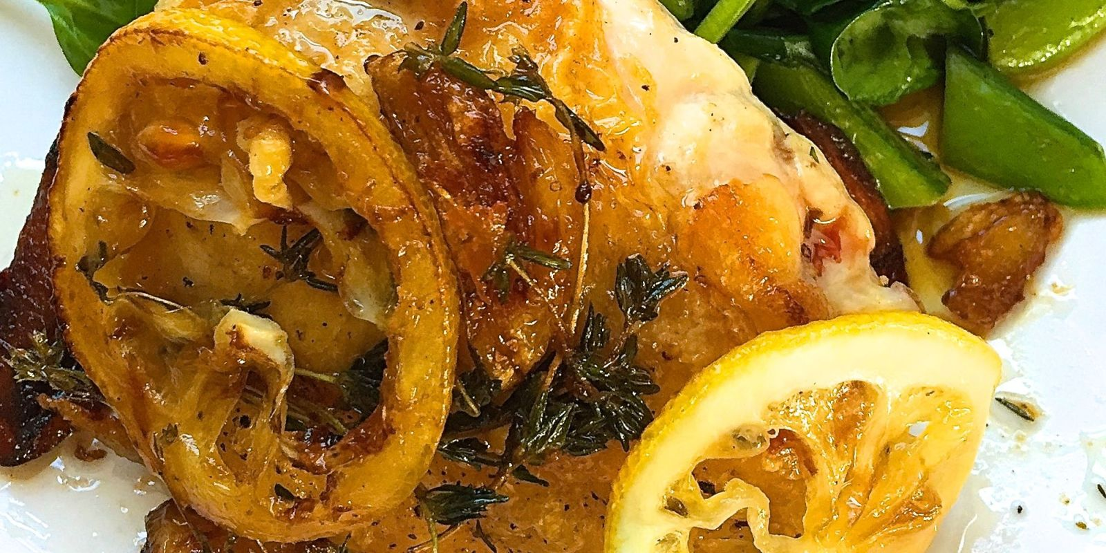 ... Roasted Chicken Thighs with Spinach and Snap Peas Recipe - Delish.com