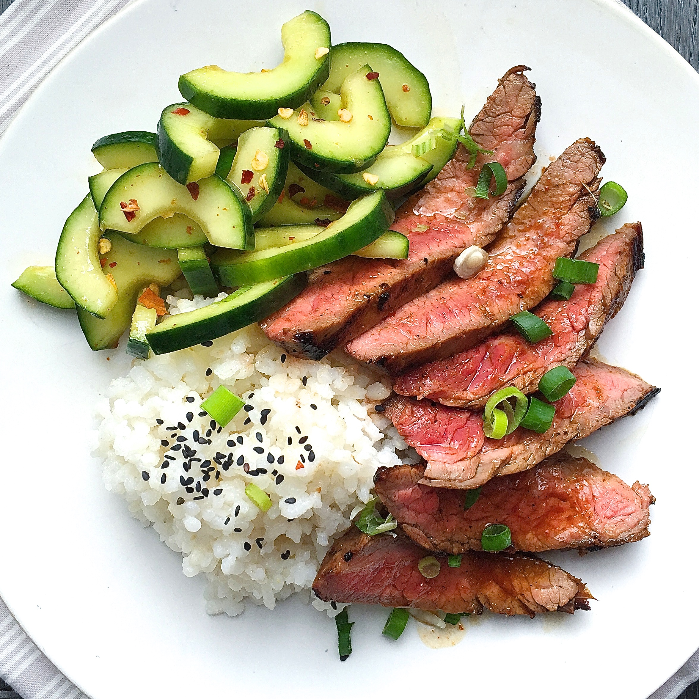 Best Korean-Style Grilled Flank Steak with Sticky Rice and Spicy ...