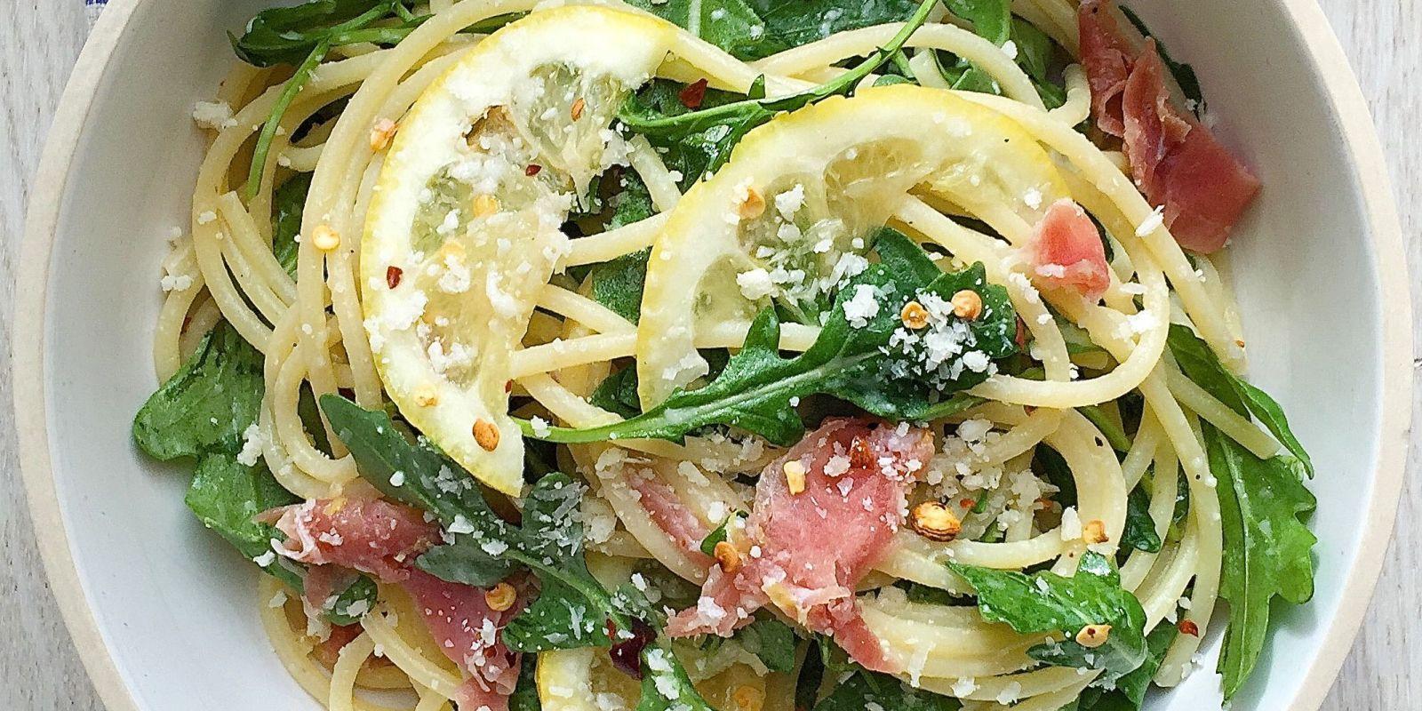 Spaghetti with Lemon, Arugula, and Prosciutto Recipe - How ...