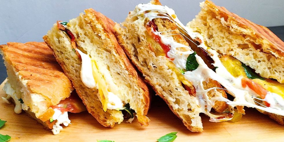 Best Panini with Mozzarella, Bacon, Grilled Zucchini, and Tomato ...