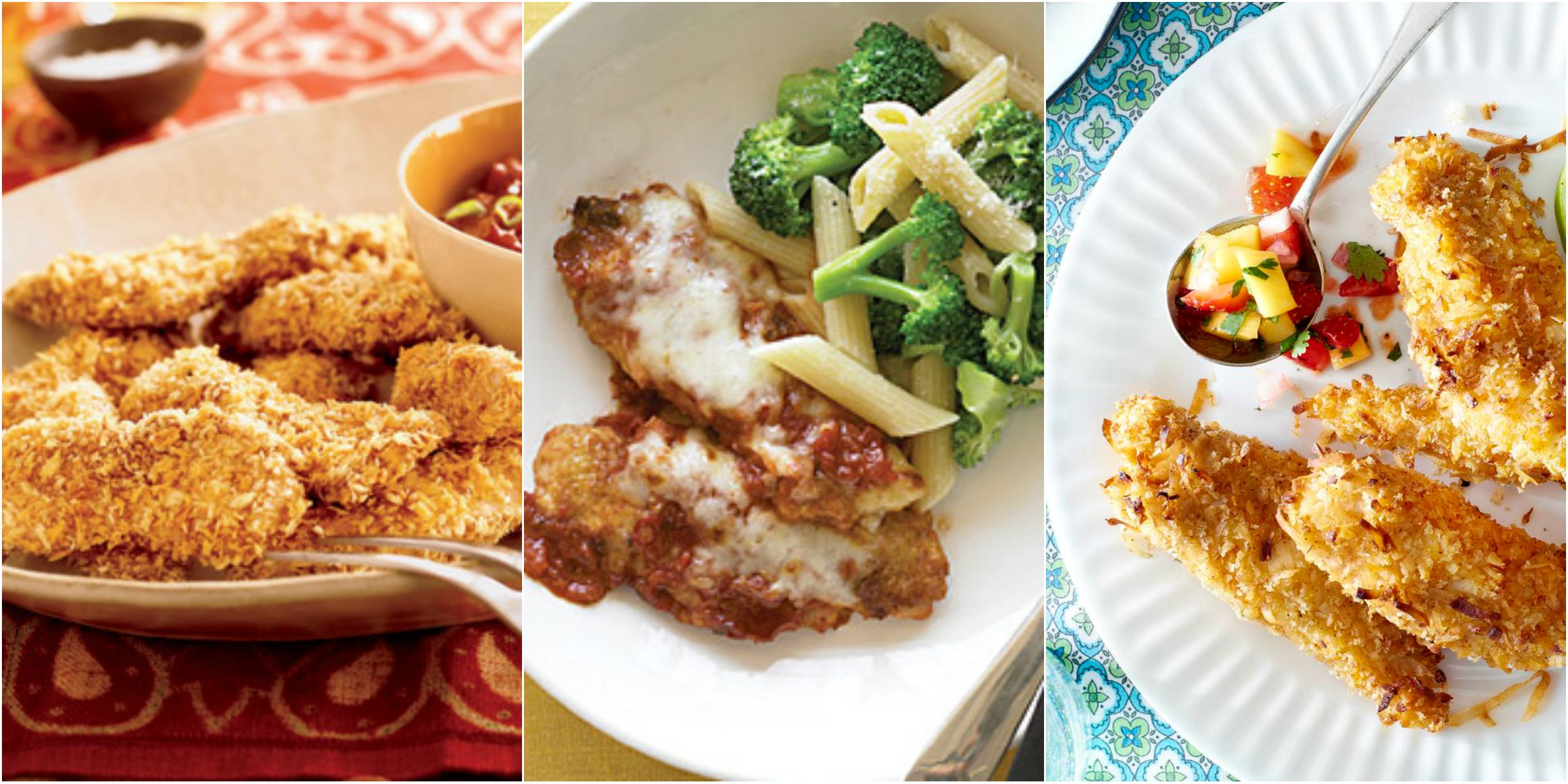 Jun 11, · This easy Baked Chicken Tenders recipe is one of our favorite family dinners. Baked Chicken Tenders Recipe I grew up eating chicken cutlets, so breaded chicken is total comfort food for me—and this recipe for Easy Cornmeal -Crusted Parmesan Chicken Tenders is a baked version that packs plenty of flavor and comes together in less than 30 jdgcrlweightlossduzmpl.mle: American.