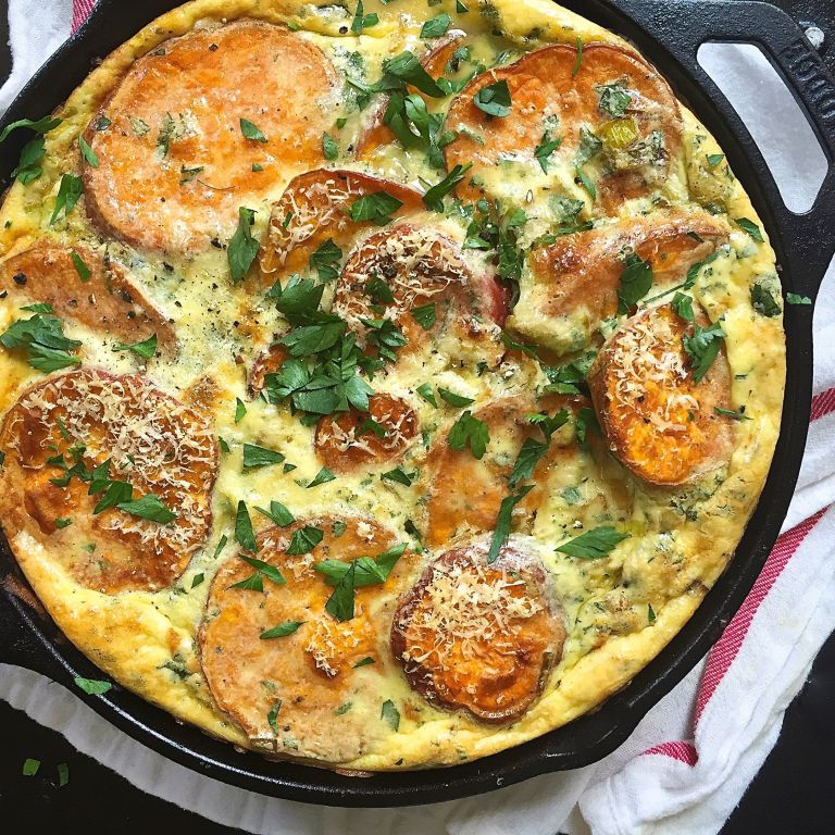... Potato Frittata Recipe - How to Make Roasted Sweet Potato Frittata