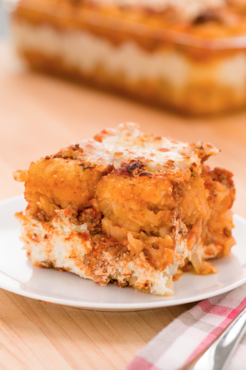 Yes, that's a tater-tot lasagna. Don't knock it 'til you've tried it.