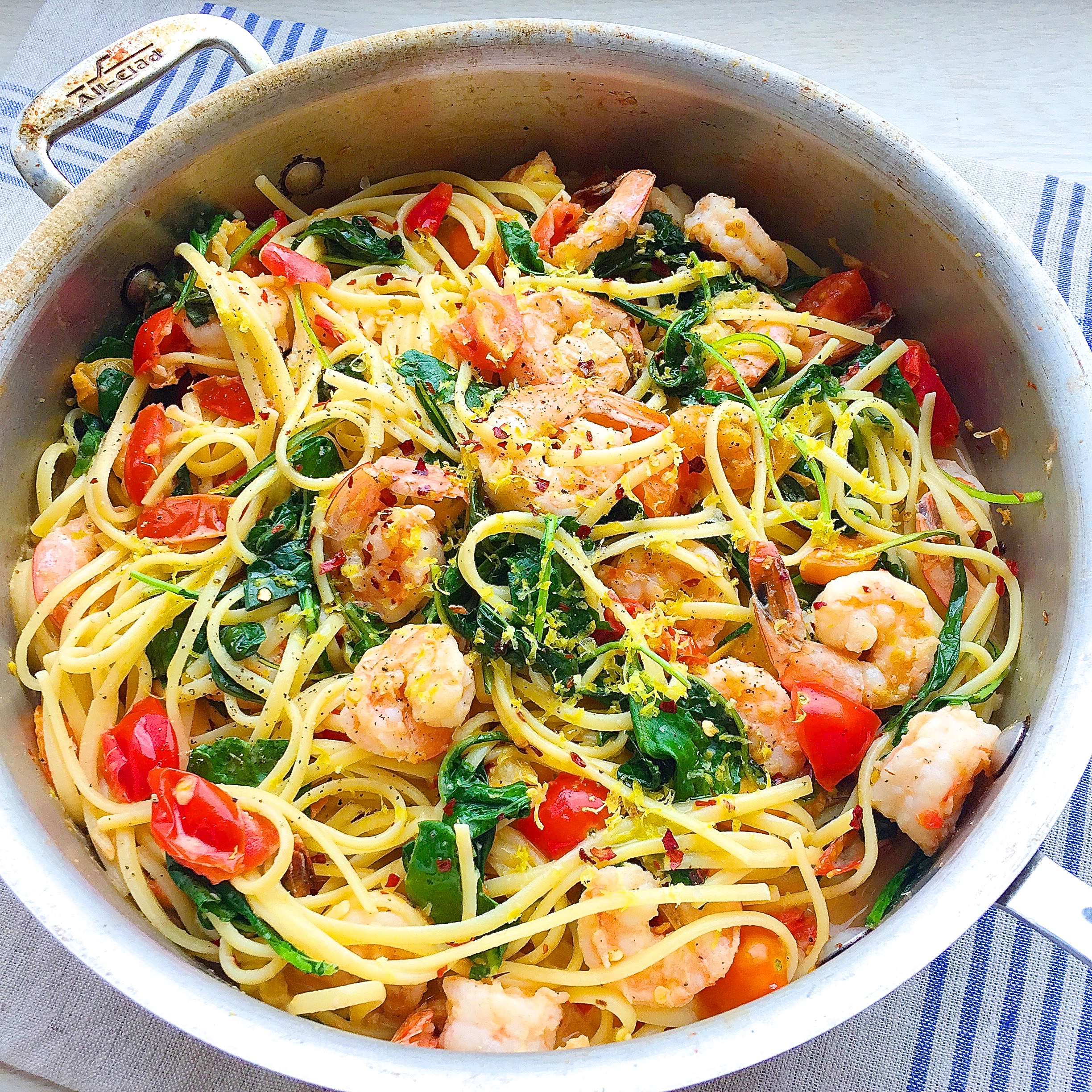 Best creamy shrimp linguine with tomatoes kale and lemon What to make with shrimp for dinner