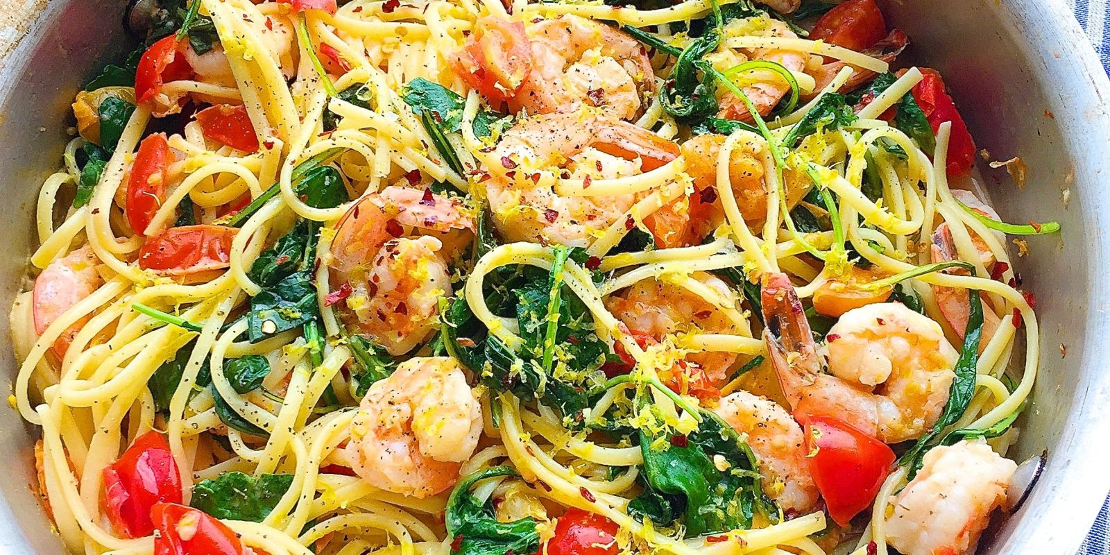 Best Creamy Shrimp Linguine with Tomatoes, Kale, and Lemon Zest Recipe ...