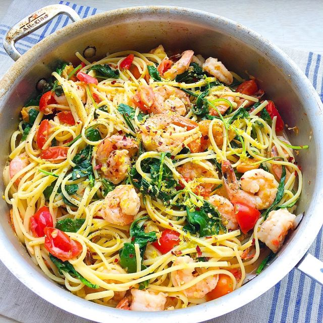 Creamy shrimp scampi with linguini for Prawn and spaghetti recipe