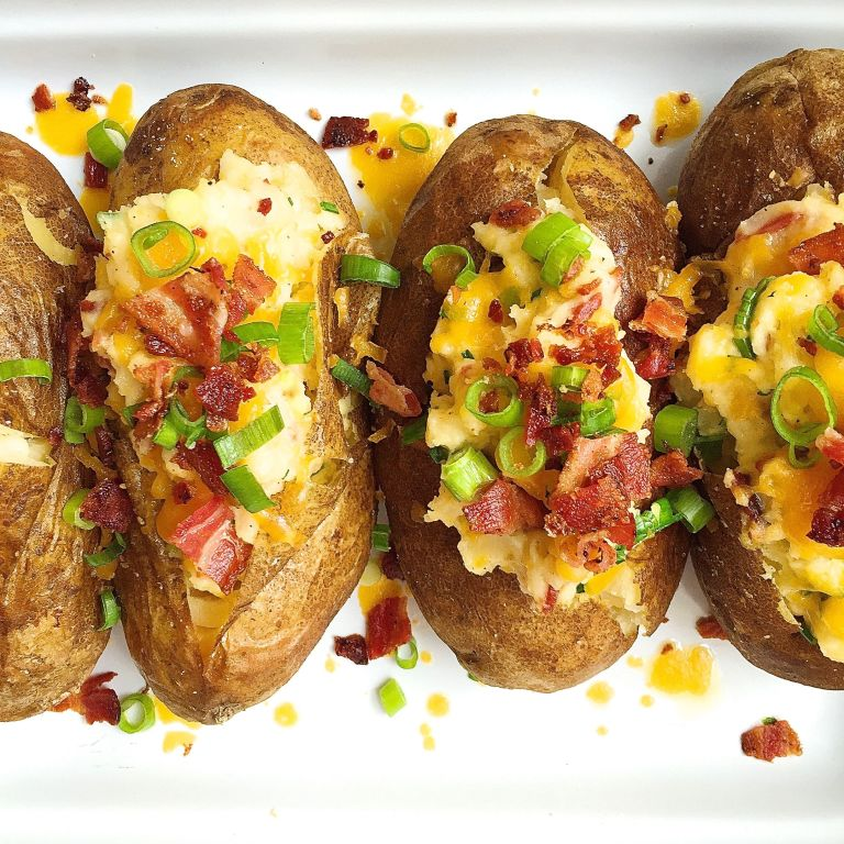 Best Loaded Baked Potatoes With Bacon And Cheddar Recipe