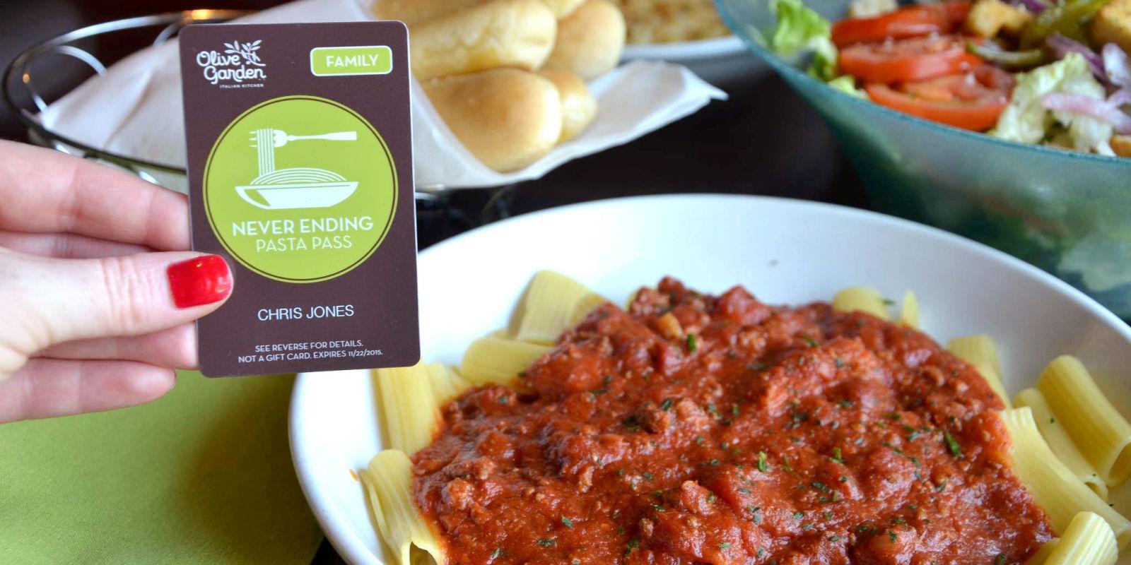 Menu For Olive Garden: Olive Garden's Never Ending Pasta Passes Are Going For