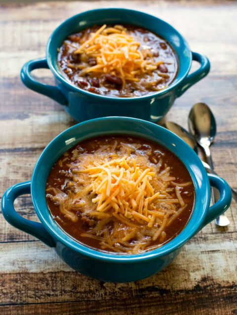 This chili gets that you should never have to choose between three dinners you love. Get the recipe from I Heart Eating.
