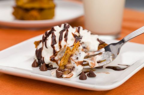 Pumpkin chocolate bread pudding