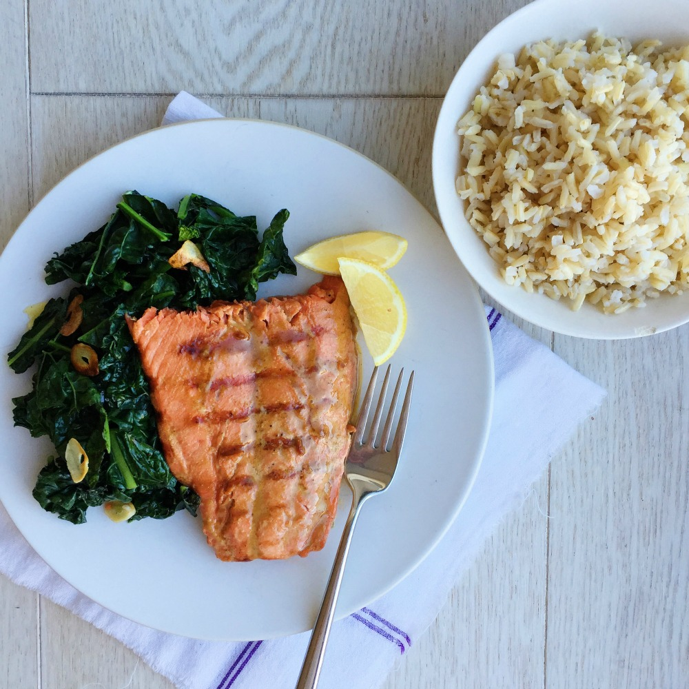 Best Soy-Glazed Salmon With Garlicky Kale And Rice Recipe