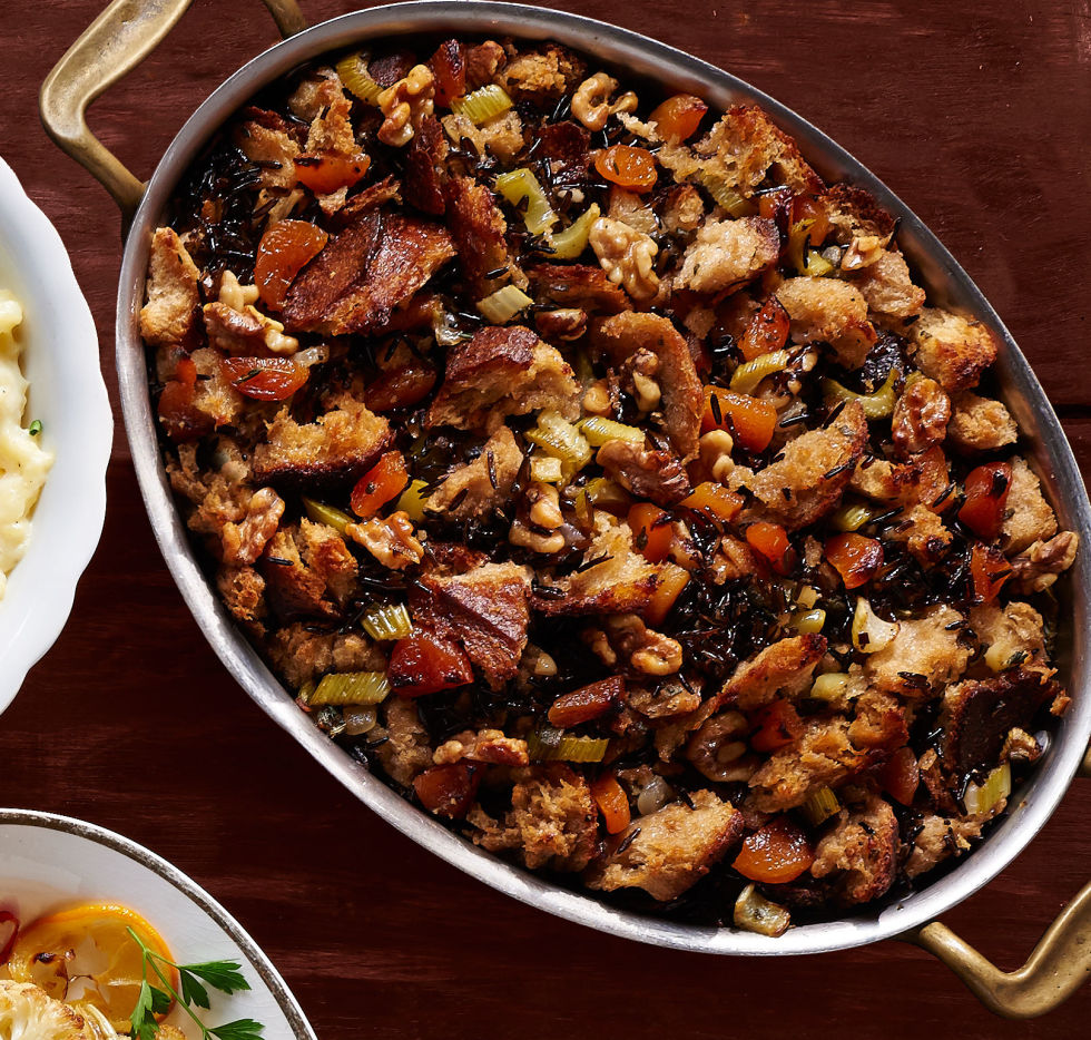 Wild rice and apricots give classic stuffing a sweet spin.