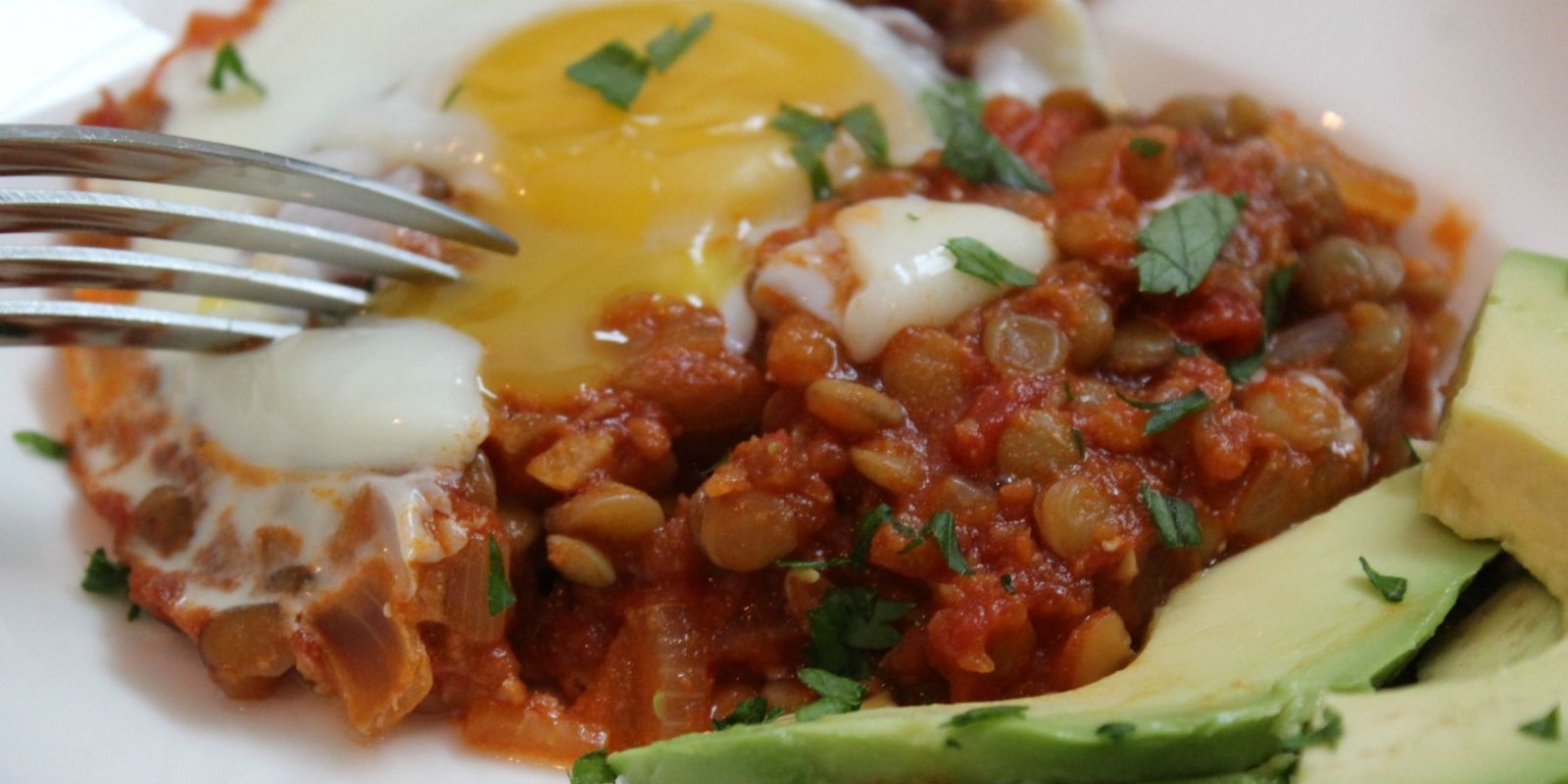 Lidey's Baked Eggs And Lentils Close Up