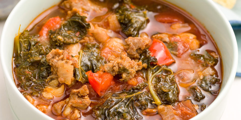 Spicy Turkey Sausage and Kale Chili