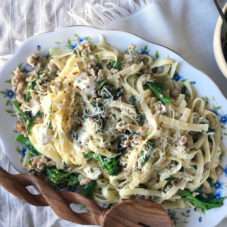 Best Sausage and Broccoli Rabe Fettuccini Recipe-How to ...
