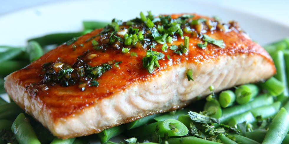Recipe for  Cilantro Chili Lime Glazed Salmon and Green Beans