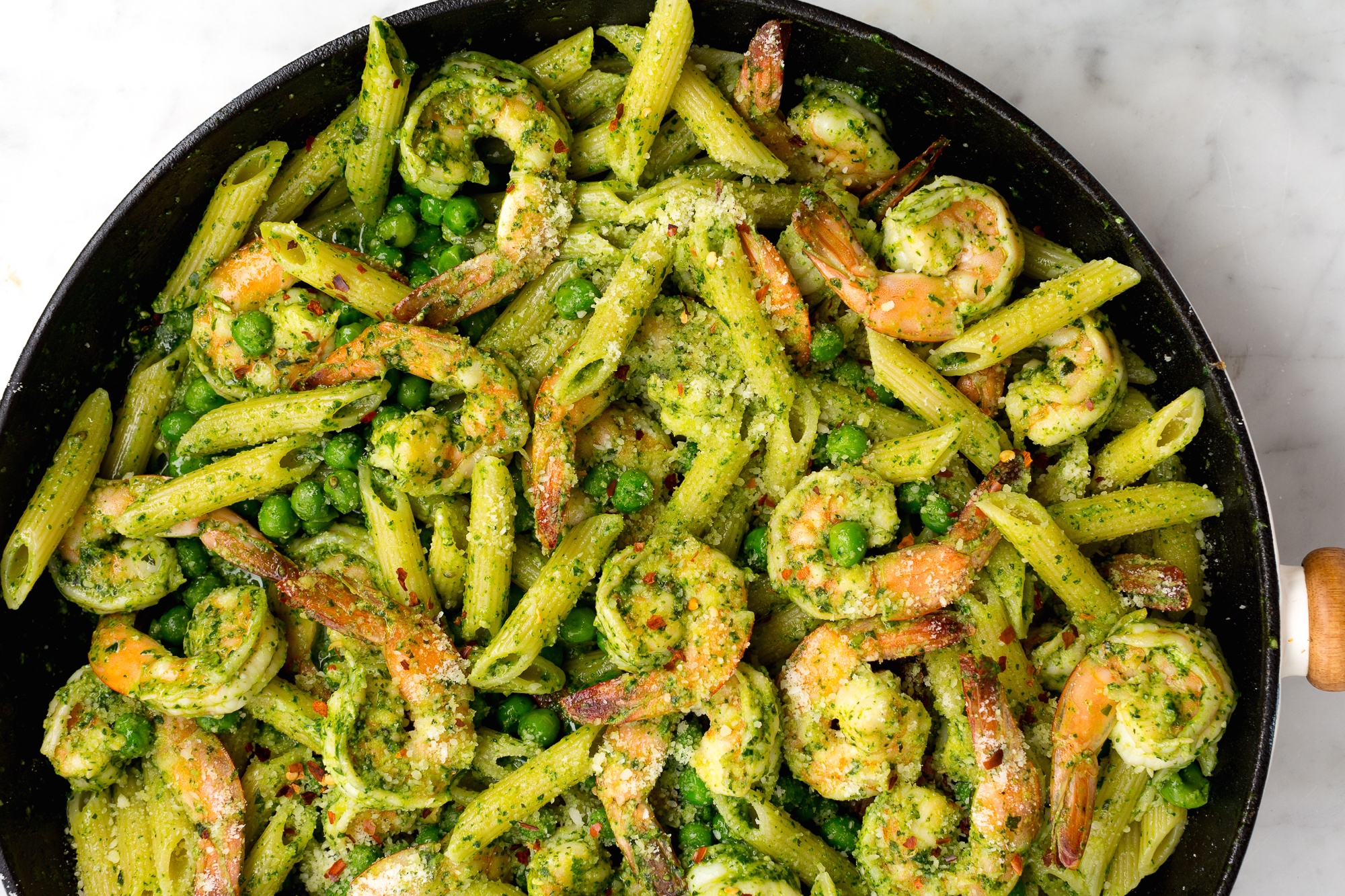 Spinach Pesto Penne with Shrimp and Peas Recipe - How to Make Spinach ...