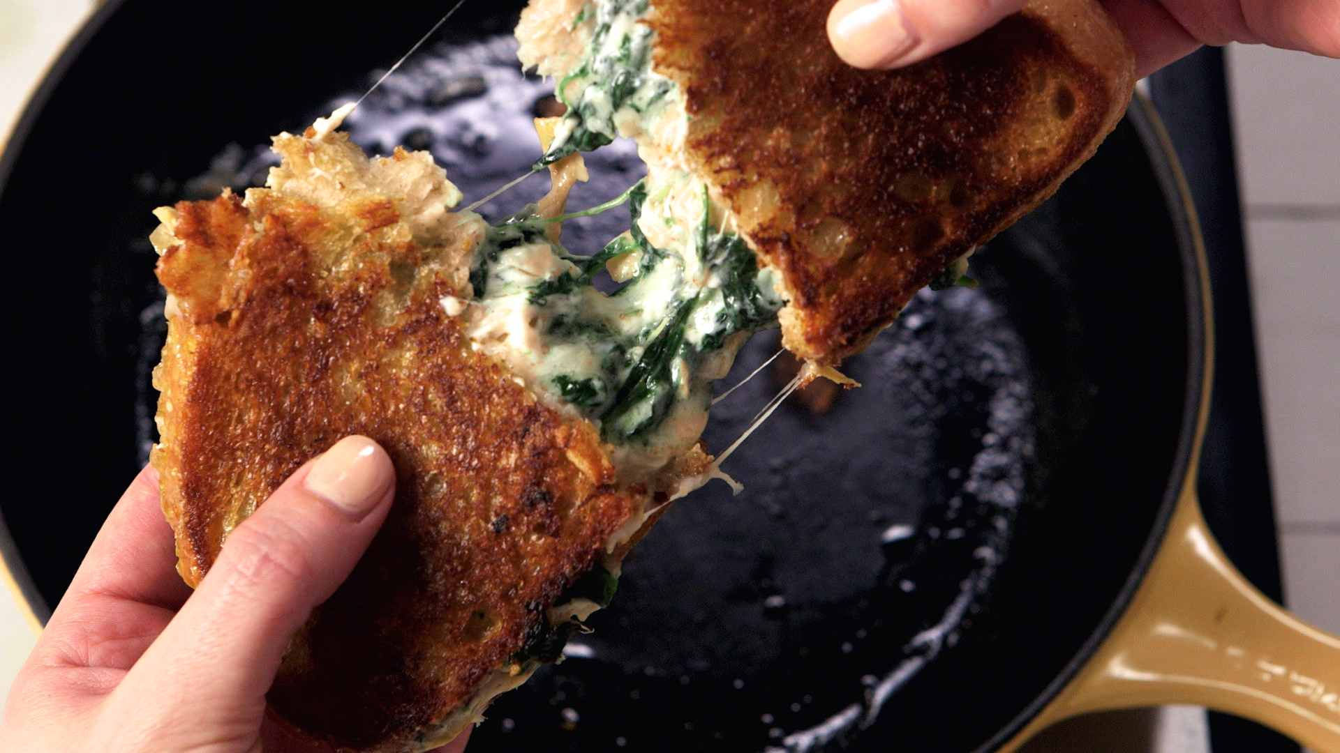 Best Spinach-Artichoke Dip Grilled Cheese Recipe - How to Make Spinach ...