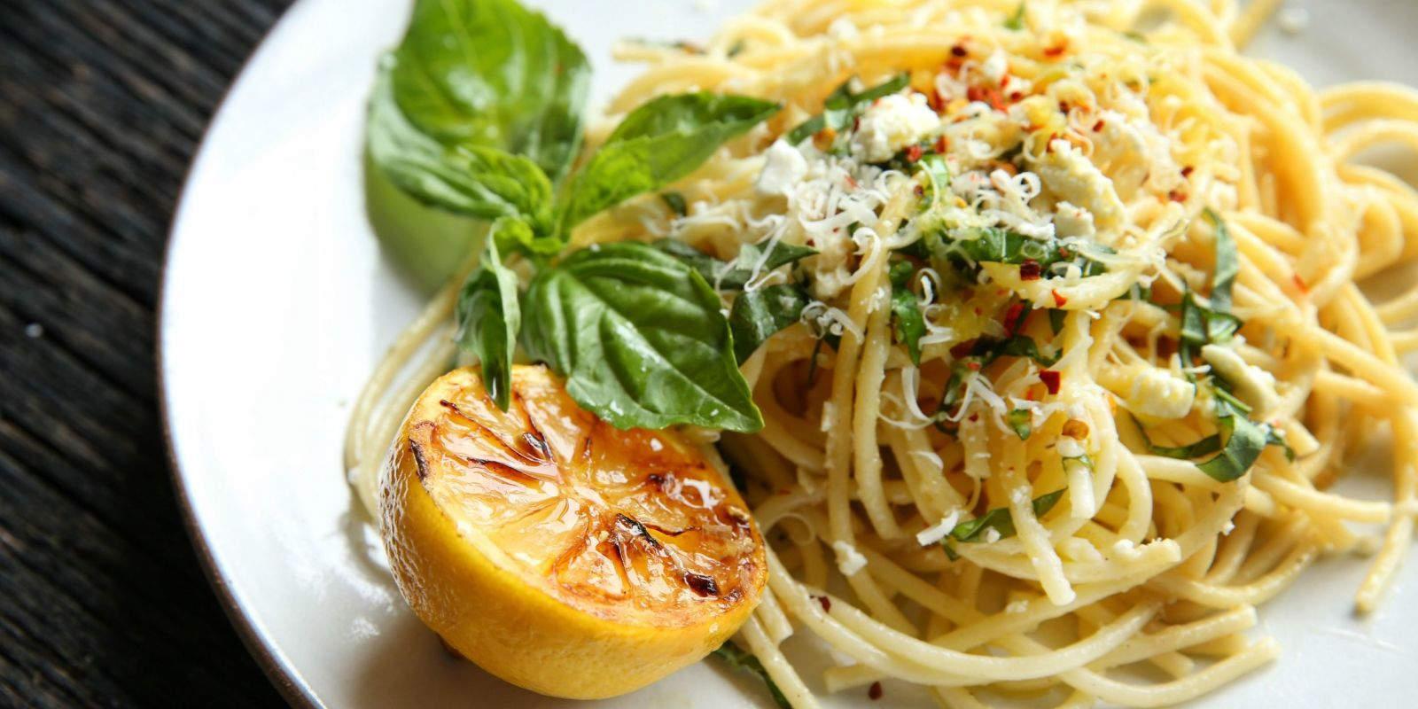 Lemon Spaghetti with Feta, Parmesan and Basil Recipe ...