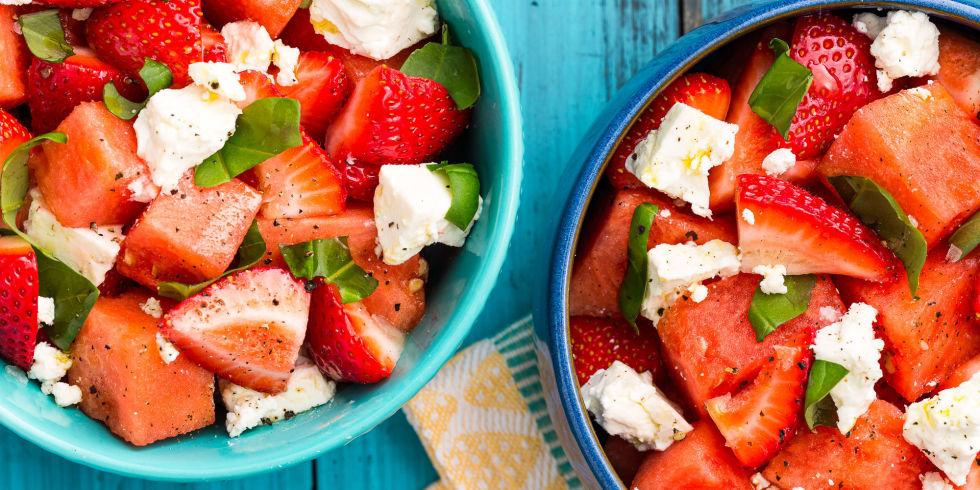 Watermelon Strawberry Caprese Salad