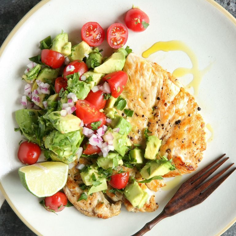 Best Seared Chicken with Avocado Salsa Recipe - Delish.com