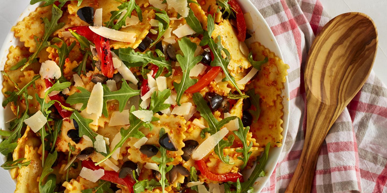 Best Red Pepper Pesto Ravioli Salad Recipe - How To Make ...