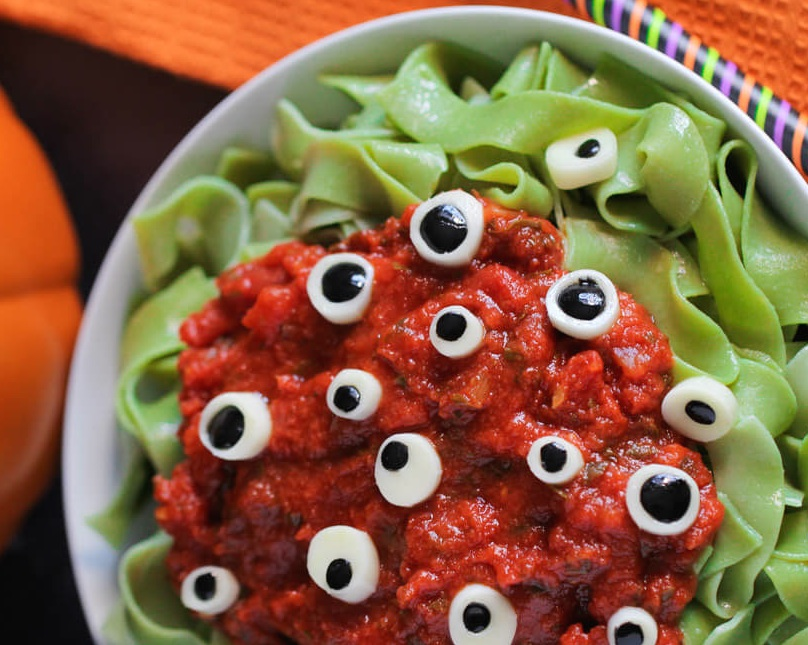 eyeball pasta - Scary Halloween Meatballs