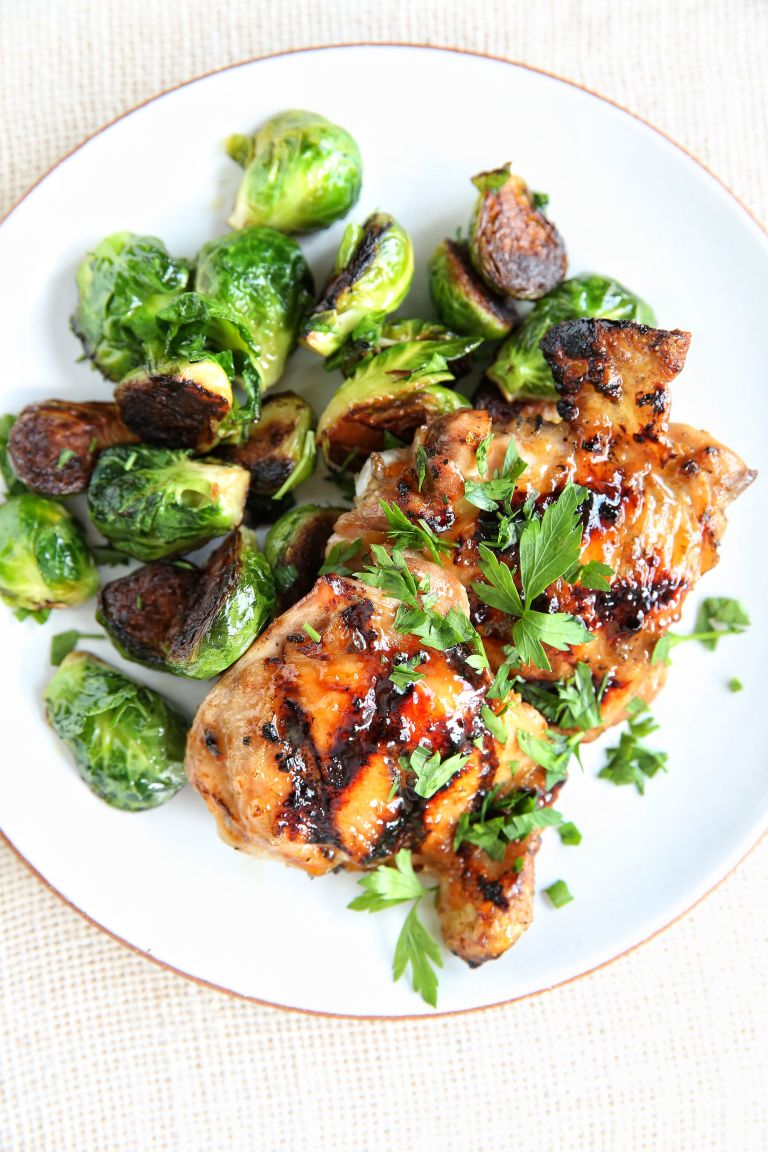 APRICOT-GLAZED CHICKEN WITH BRUSSELS SPROUTS