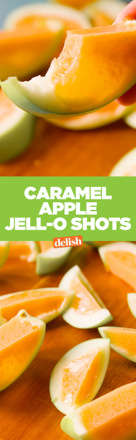 Caramel Jell-O Apple Shots Pinterest