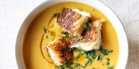 Creamy Pumpkin Soup with Grilled Cheese Croutons Recipe