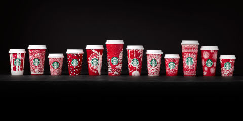 Starbucks holiday red cups 2016