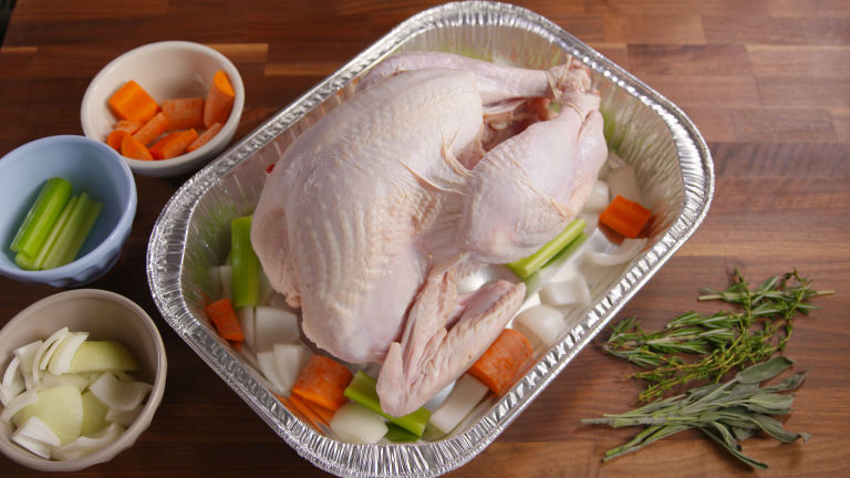 how to roast a turkey without a rack raw horizontal