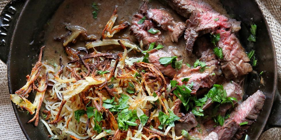 Whiskey-Glazed Steak with Shoestring Potatoes