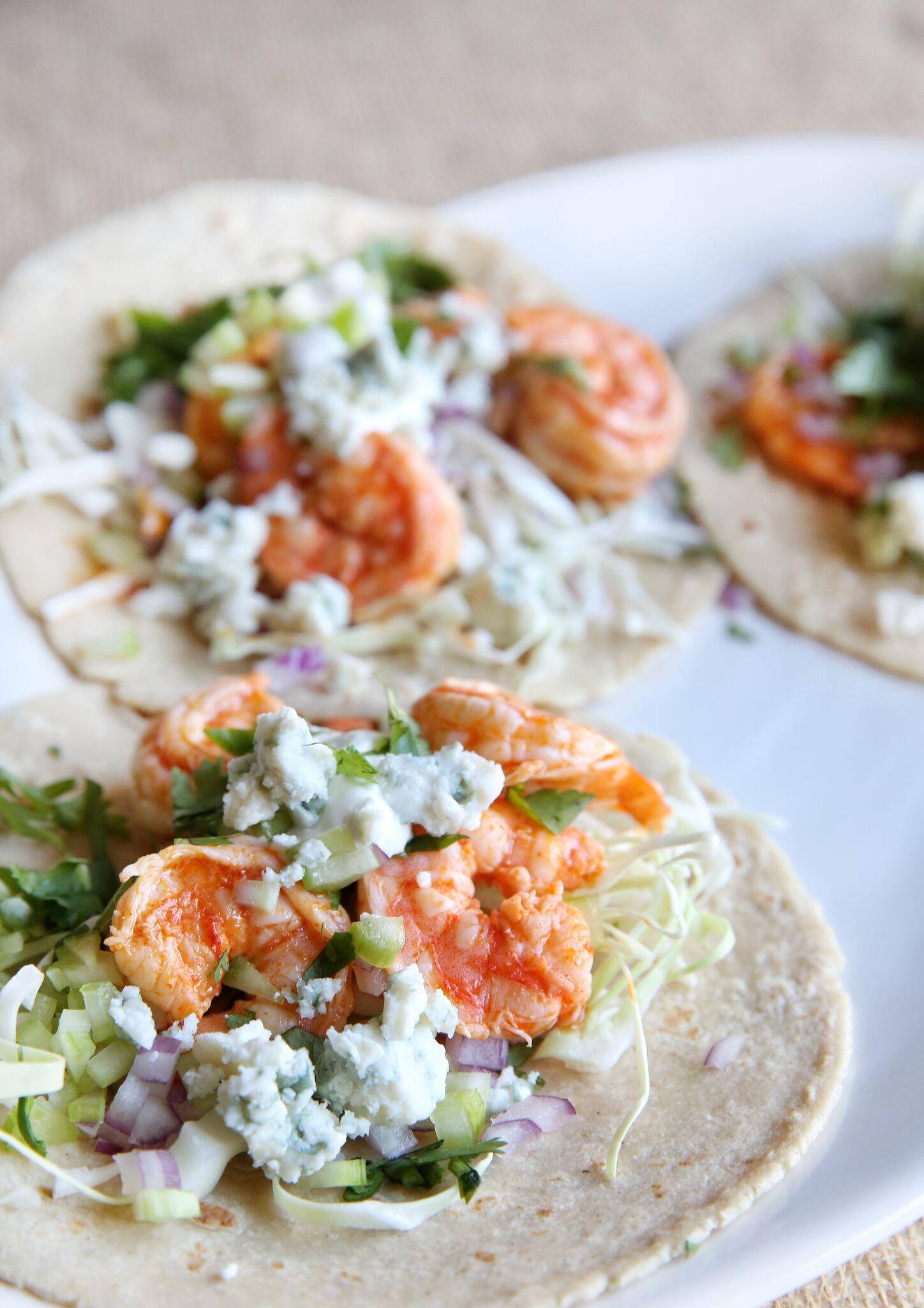 Best Buffalo Shrimp Tacos Recipe How To Make Buffalo Shrimp Tacos Delish Com