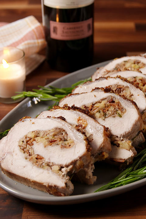 How to wow holiday dinner guests? Stuffing a pork loin with more bacon.