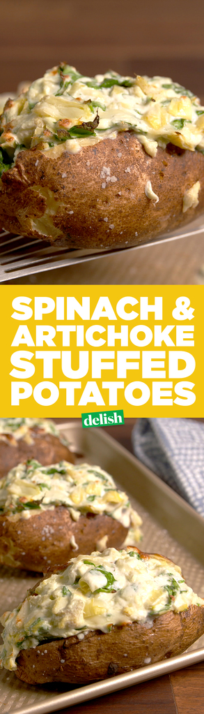 Spinach Artichoke Baked Potatoes Delish Com