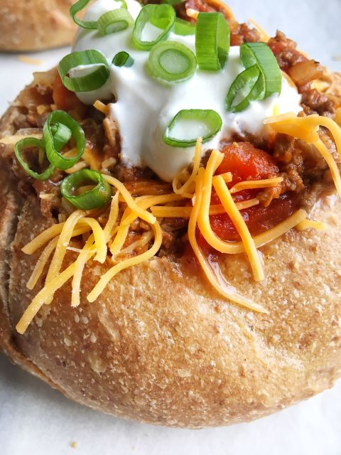Beef Chili in a Bread Bowl Vertical