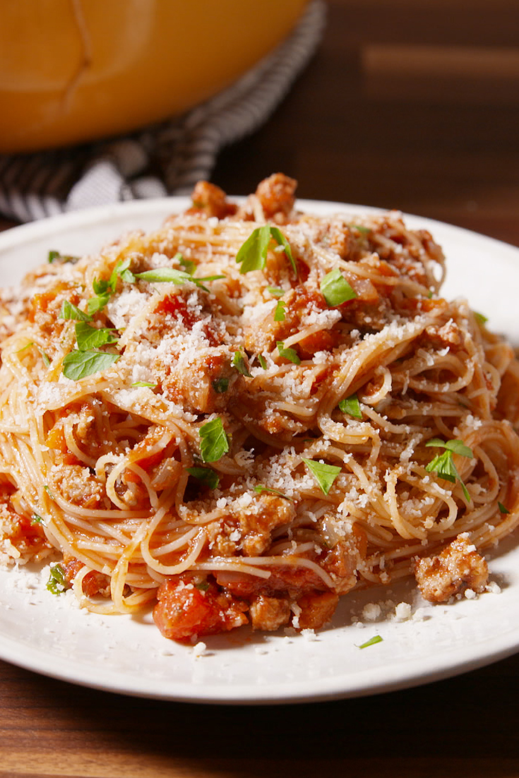 turkey ground recipes pasta bolognese recipe delish italian healthy barley meals spaghetti cooking sausage easy dinners chicken dinner dishes pastas