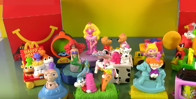 Like the rest of us, McDonald's was not above making a BFD about birthdays. 1994 marked the Happy Meal's 15th, and they celebrated with a 15-car birthday train. Each of the pieces connected and brought all the best Happy Meal characters from the past together again. Ronald and Friends, The Little Mermaid, Barbie, Berenstein Bears — gangs all here!
