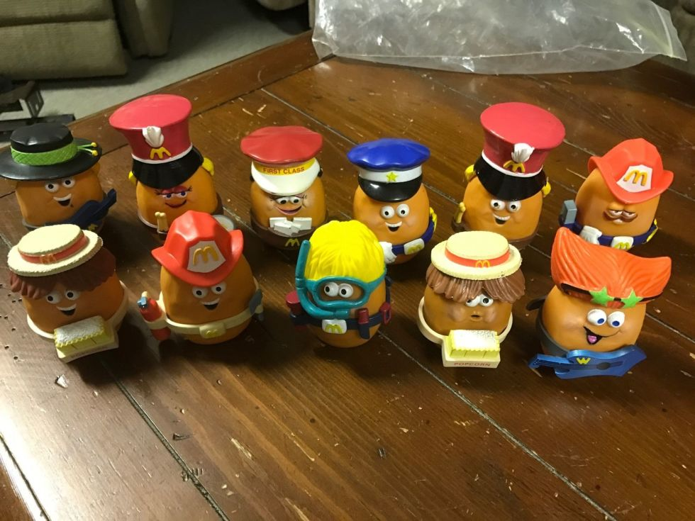 "These were like Mr. Potato Head but better because they were chicken nug-shaped. The figurines were designed to promote the new Chicken McNuggets Happy Meal, and each of the original 10 characters came with a fun — though not necessarily developed — backstory, like Rocker McNugget: ""Like, I'm Rocker McNugget and I think rock and roll is really RAD!"""