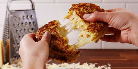 Cauliflower Grilled Cheese Horizontal Cheese Pull