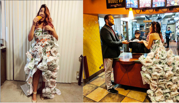 Bride Makes Wedding Dress Out of Burrito Wrappers - Diane Nguyen ...