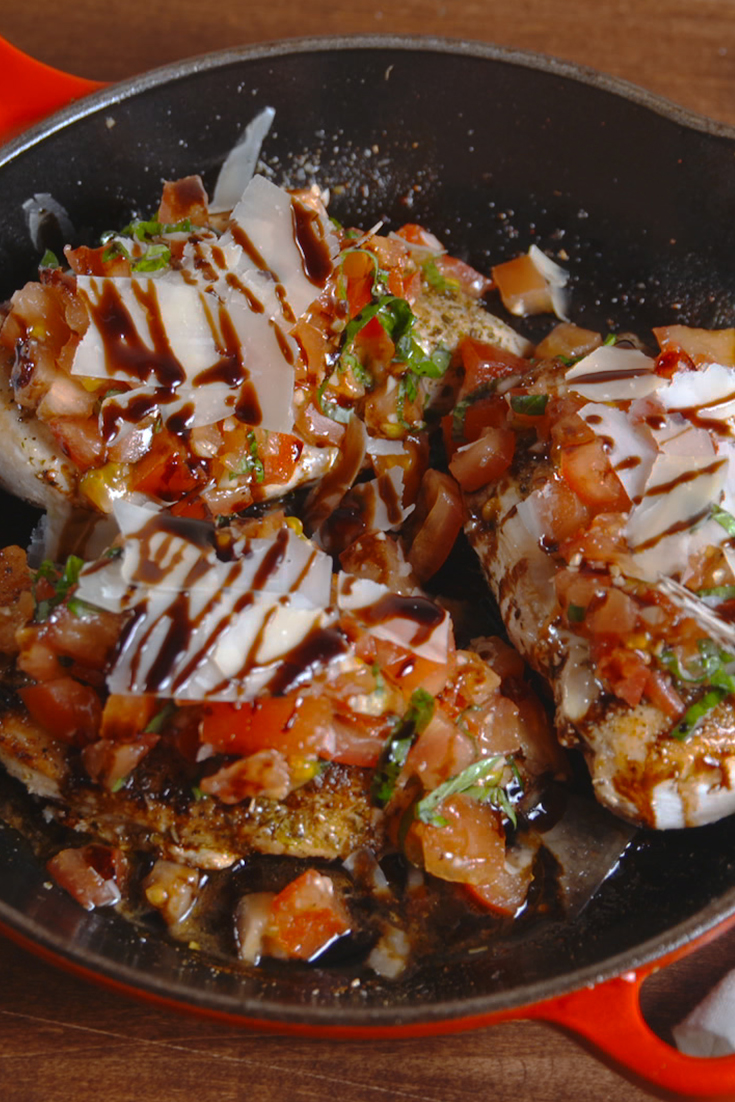 chicken bruschetta delish skillet recipe dinner recipes easy dinners pasta cooking food delicious healthy topping