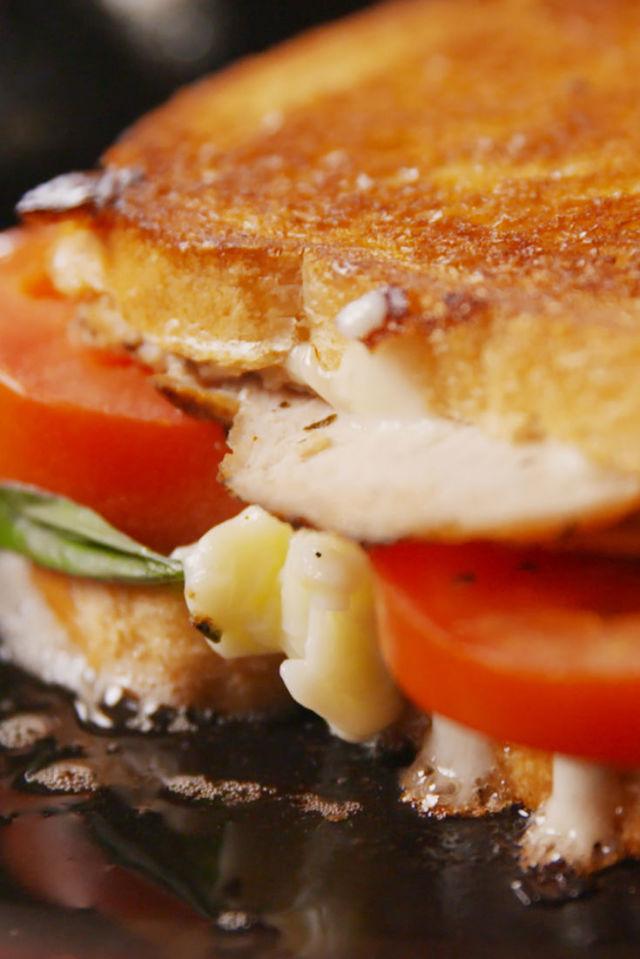 Caprese Chicken Grilled Cheese Vertical
