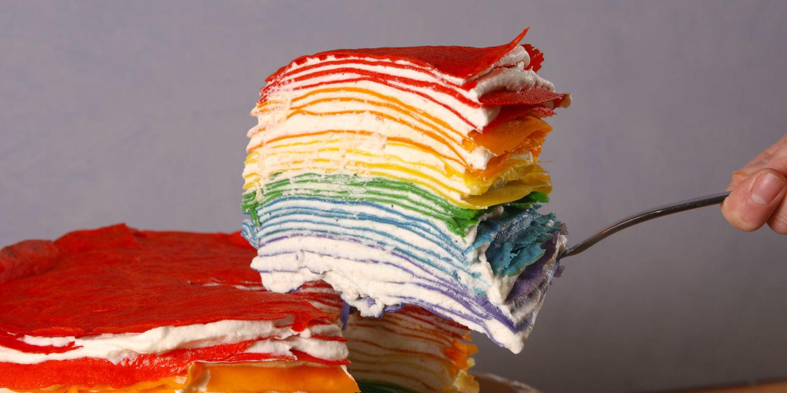 Best Rainbow Crepe Cake Recipe How To Make Rainbow Crepe