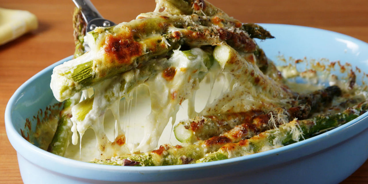 Best Cheesy Baked Asparagus Recipe  How To Make Cheesy Baked Asparagus